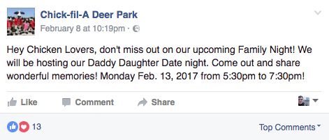 deer park facebook post strategy